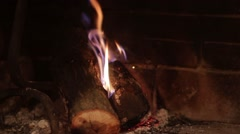 Warm, red fireplace Stock Footage