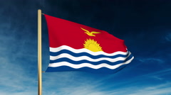 Kiribati flag slider style. Waving in the win with cloud background animation Stock Footage