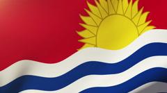 Kiribati flag waving in the wind. Looping sun rises style.  Animation loop Stock Footage
