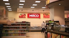 RUSSIA, MOSCOW, 7 MARCH 2015, grocery store with premium chefs are made fresh Stock Footage