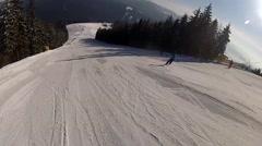Going down the ski run in Bukovel, Ukraine - stock footage