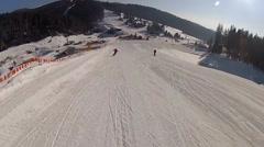 Stock Video Footage of Going down the ski run in Bukovel, Ukraine