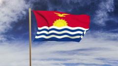 Kiribati flag waving in the wind. Green screen, alpha matte. Loopable animation Stock Footage