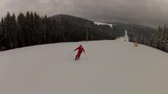 Going down the ski run in Bukovel, Ukraine Stock Footage