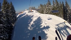 View from the ski lifts in Bukovel, Ukraine Stock Footage