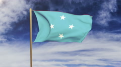 Micronesia flag waving in the wind. Green screen, alpha matte. Loopable Stock Footage