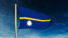 Nauru flag slider style. Waving in the win with cloud background animation Stock Footage