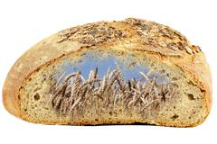 bread and golden wheat - stock illustration