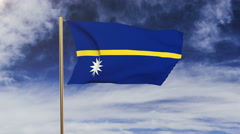 Nauru flag waving in the wind. Green screen, alpha matte. Loopable animation Stock Footage