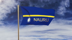 Nauru flag with title waving in the wind. Looping sun rises style.  Animation Stock Footage