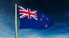 New Zealand flag slider style. Waving in the win with cloud background animation Stock Footage