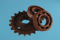 Gear wheels and cogs. Chromakey background, Kuvituskuvat