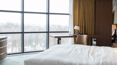 Hotel bedroom with beautiful view - stock footage