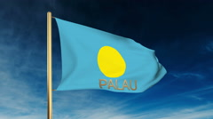 Palau flag slider style with title. Waving in the wind with cloud background Stock Footage