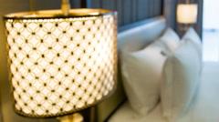 Luxury hotel room interior view Stock Footage