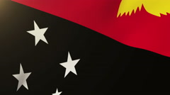 Papua New Guinea flag waving in the wind. Looping sun rises style.  Animation Stock Footage
