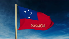 Samoa flag slider style with title. Waving in the wind with cloud background Stock Footage