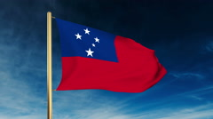Samoa flag slider style. Waving in the win with cloud background animation Stock Footage