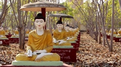 Buddha Meditating Sculptures 3 Stock Footage