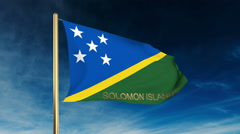 Solomon Islands flag slider style with title. Waving in the wind with cloud Stock Footage
