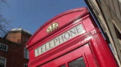 Skew shot detail of a Red Telephone Box in London in the United Kingdom Stock Footage