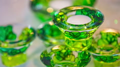 Green glass decoration close up Stock Footage