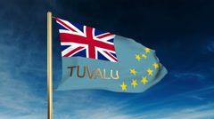 Tuvalu flag slider style with title. Waving in the wind with cloud background Stock Footage