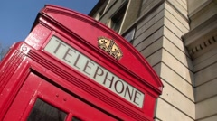 Detail shot of a London Red Telephone Box in the United Kingdom Stock Footage