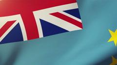 Tuvalu flag waving in the wind. Looping sun rises style.  Animation loop Stock Footage