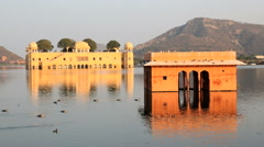 Rajasthan Jaipur India Jal Mahal Water Palace lake Stock Footage