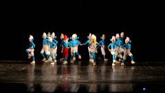Dancing children in smurf costumes. Little dancers Stock Footage
