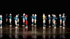 Dancing children in smurf costumes. Small dancers Stock Footage