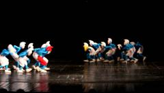 Dancing children in smurf costumes. Young dancers Stock Footage