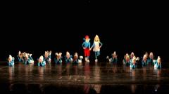 Dancing children in smurf costumes. Dancing kids Stock Footage
