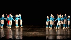 Dancing children in smurf costumes. Little kids Stock Footage