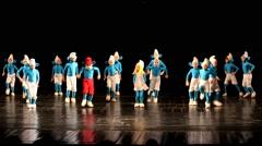 Dancing children in smurf costumes. kids dance Stock Footage