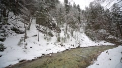 River in a winter landscape Stock Footage