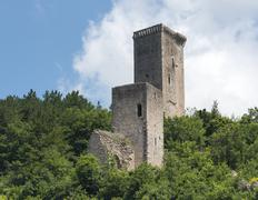 Visso (Marches, Italy), ruins of two towers - stock photo