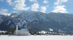 Church in sunny winter landscape Stock Footage