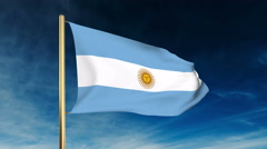 Argentina flag slider style. Waving in the win with cloud background animation Stock Footage