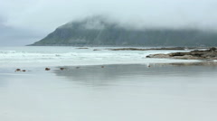 Ramberg beach summer cloudy view (Norway, Lofoten) and surf noise. Stock Footage