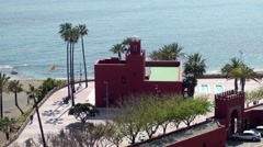 Bil Bil castle red walls sea high viewpoint architecture Andalucia Stock Footage