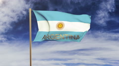 Argentina flag with title waving in the wind. Looping sun rises style Stock Footage