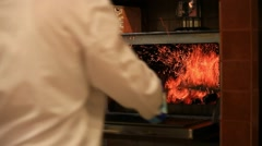 Chef is making flambe and fire. HD. 1920x1080 Stock Footage
