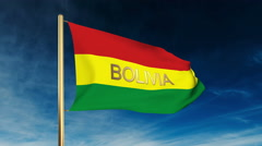 Bolivia flag slider style with title. Waving in the wind with cloud background Stock Footage
