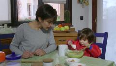 Mom And Child Cooking Food And Cake At Home Stock Footage