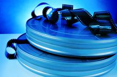 Film and movie film reel canisters Stock Photos