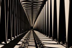 Stock Photo of Railway metal bridge perspective view