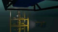 ROV submersibles inspecting underwater oil and gas equipment, 3D animation Stock Footage