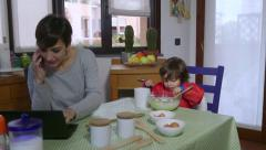 Multitasking Mother Mom Busy Woman With Child Baby Daughter Cooking Stock Footage